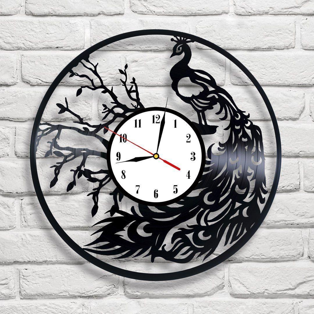 Peacock Design Vinyl Record Clock Home Wall Art Shop Office Playroom Vet Bedroom Vinyl Record Clock Clock Record Clock