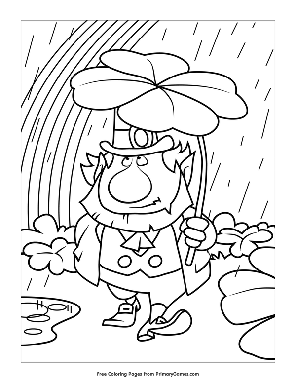 st patricks day coloring pages ebook leprechaun in a rainstorm