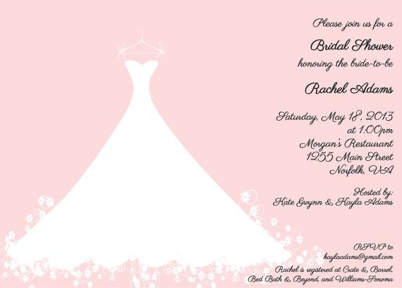 Pink Bridal Shower Invitation Wedding Gown Luncheon Tea