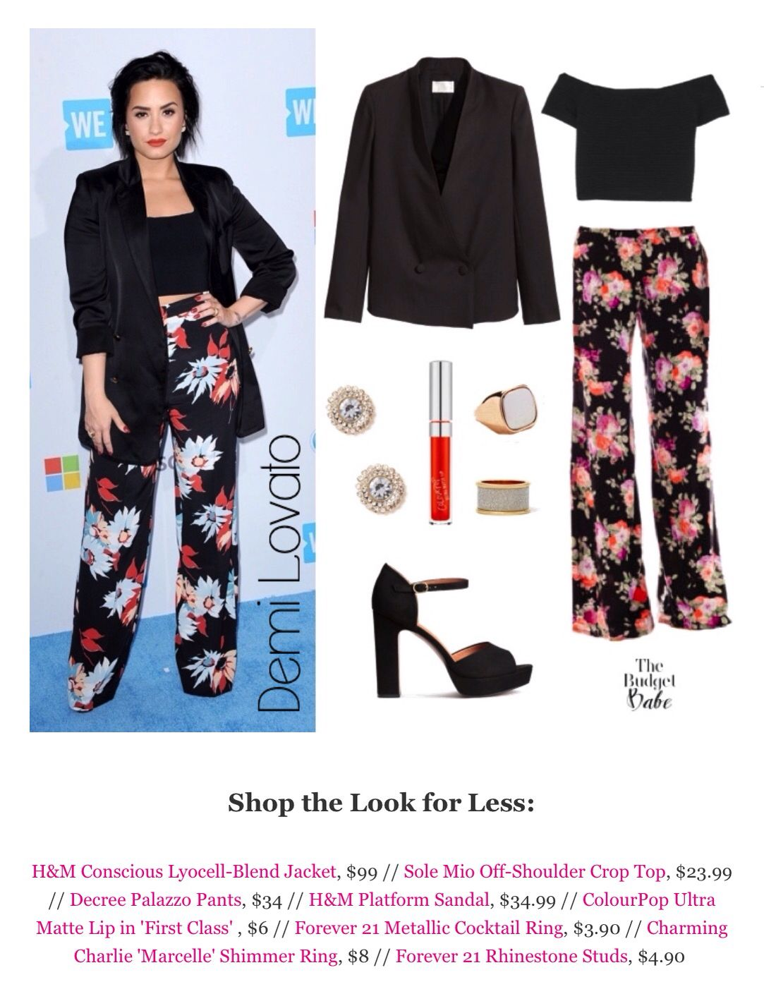 464fa0e35 The Budget Babe | Look 4 Less | Fashion, Floral pants, Demi lovato