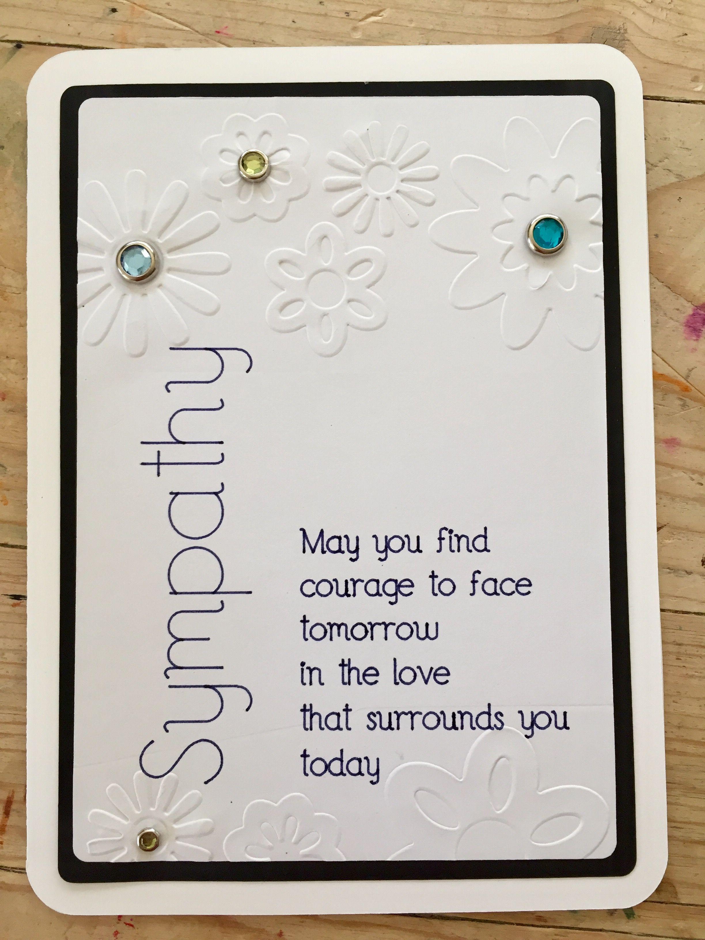 Cricut Sympathy Card Condolences Card White Embossed Jeweled Flowers Condolence Card Cricut Cards Sympathy Cards