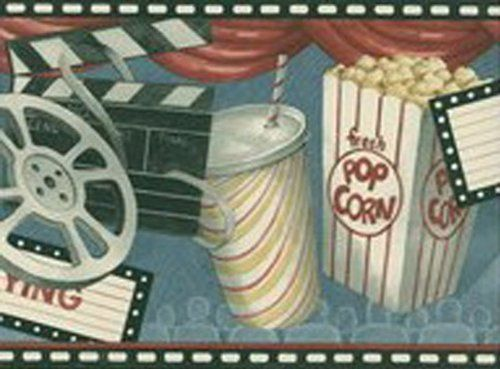 Movie Theater Game Room Feature Presentation Pop Corn Wallpaper Border By Seabrook 14 95 Popcorn Sodas And M Wallpaper Border Movie Decor Wallpaper Samples