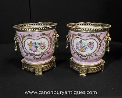 Pair French Sevres Porcelain Cache Pots Floral Planters Bowls in Pottery, Porcelain & Glass, Porcelain/ China, Sevres | eBay