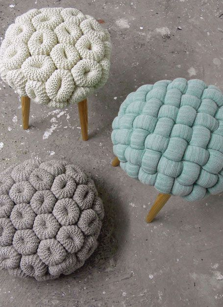 Knitted stools by Claire Anne O'BrienVI