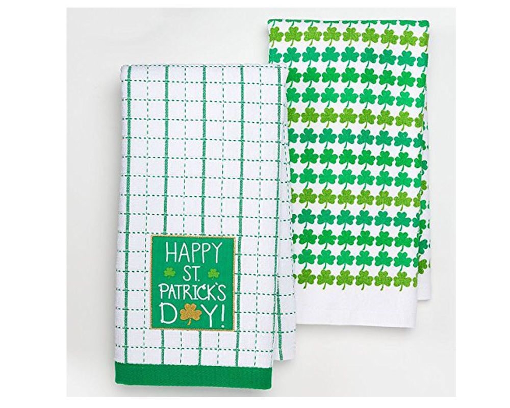 Happy St Patrick Day Window Payne Kitchen Towels 2pk White