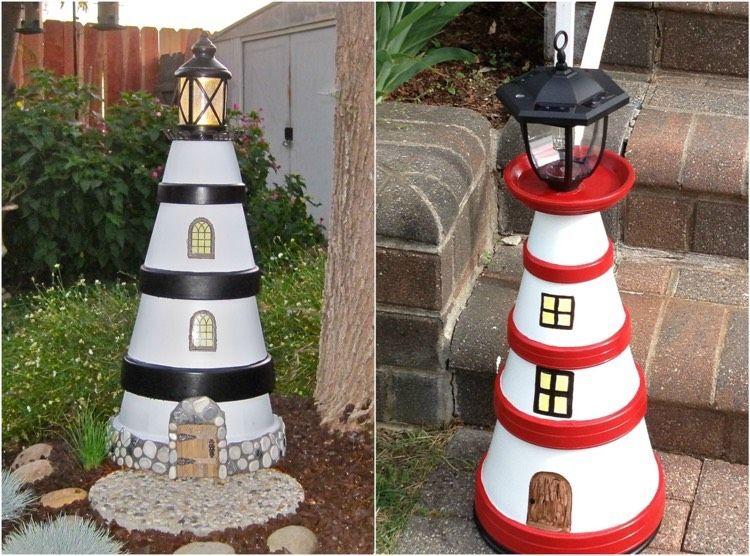 selbstgebastelter leuchtturm aus tont pfen leuchtturm pinterest kleine g rten gestalten. Black Bedroom Furniture Sets. Home Design Ideas