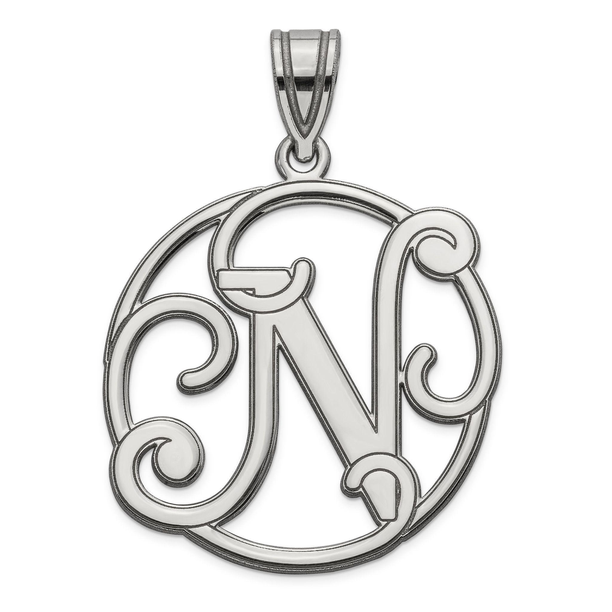 Sterling Silver Fancy Script Initial N Charm