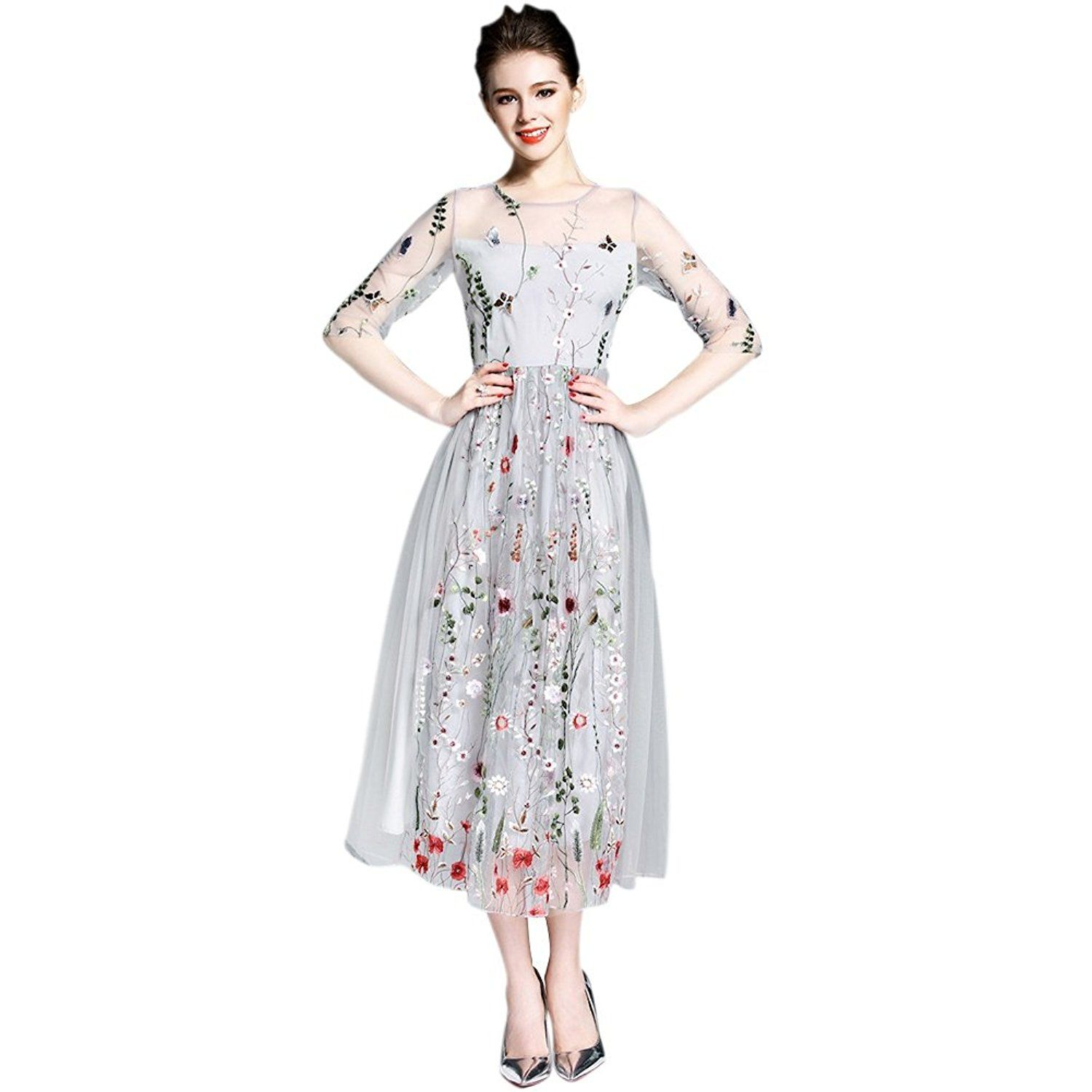 58e8dffbcd5 Froomer Womens Gorgeous Half Sleeves Sheer Mesh Embroidery Bohemian Long  Dress (Asian S
