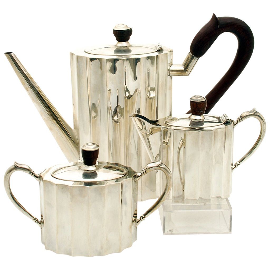 Good Vintage Mexican Art Deco Period Sterling Silver Coffee Service