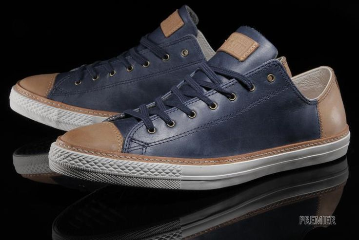 6d8a873c6bbc Converse Leather Navy Blue Tan