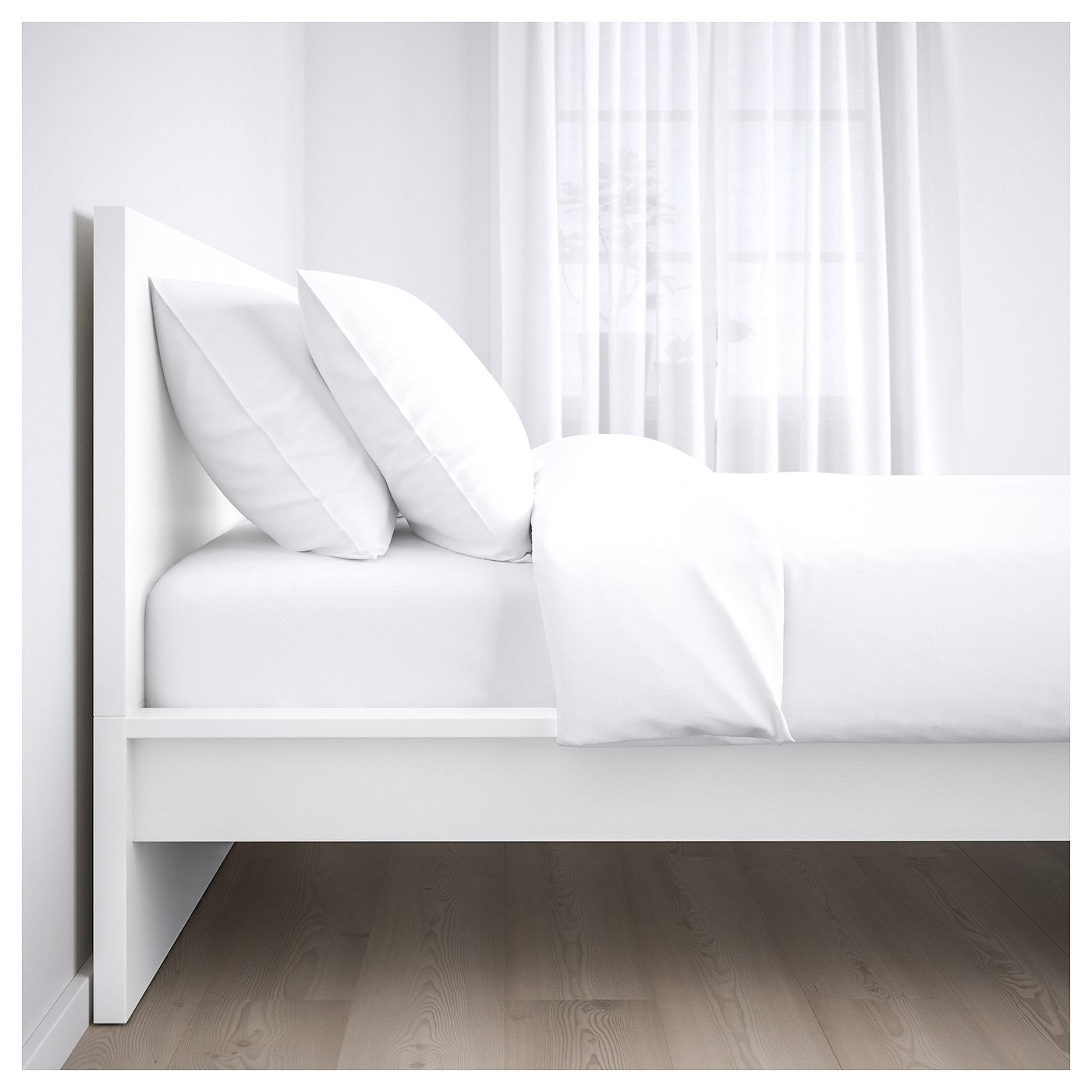 Malm White Luroy Bed Frame High 140x200 Cm Ikea In 2020 Malm Bed Frame White Bed Frame Malm Bed