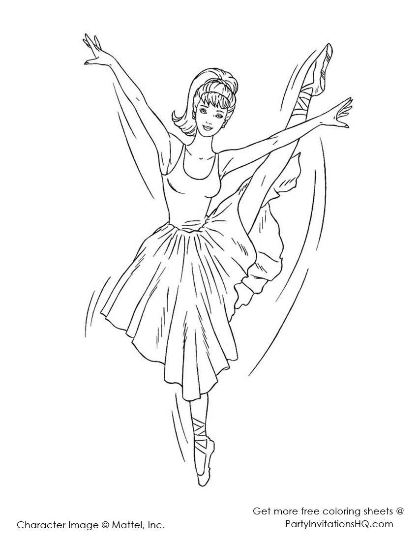 Http Partyinvitationshq Com Wp Content Uploads 2012 11 Barbie Ballerina Coloring Pages 3 Jpg Kleurplaten Kleuren Illustraties