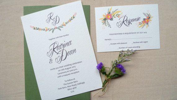 Printable Wedding Invitation & RSVP Card - digital template DIY - Lets Love. $38.00, via Etsy.