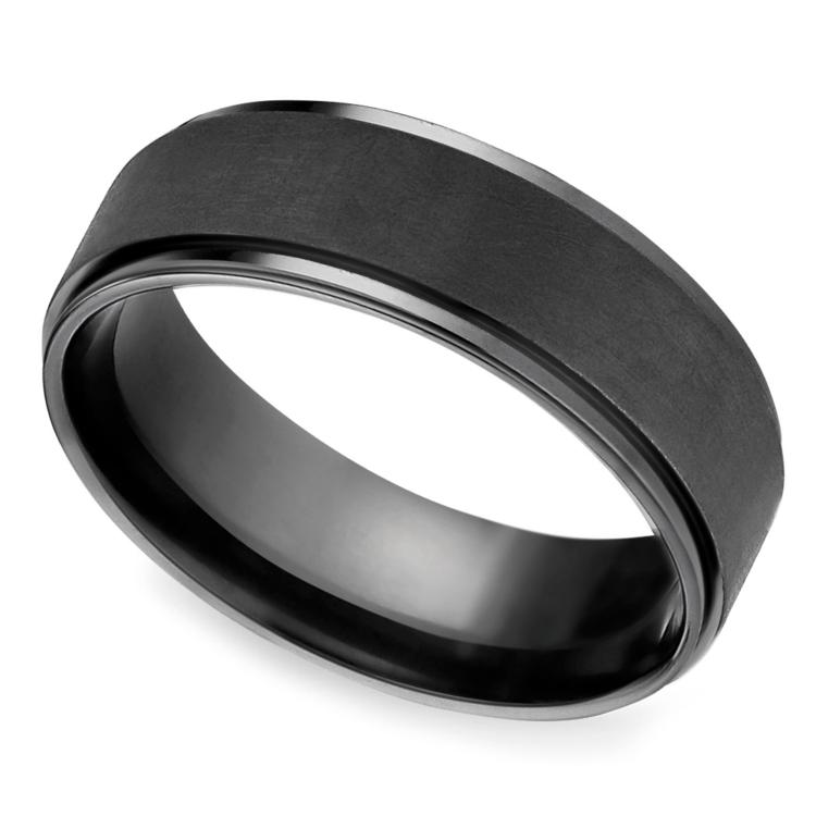 Beveled Pattern Men S Wedding Ring In Black Titanium Mens Wedding Rings Unique Diamond Rings Rose Gold Engagement Ring Vintage
