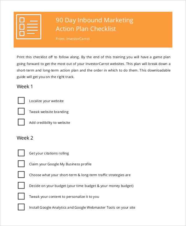 Marketing Action Plan Checklist  Marketing Plan Template