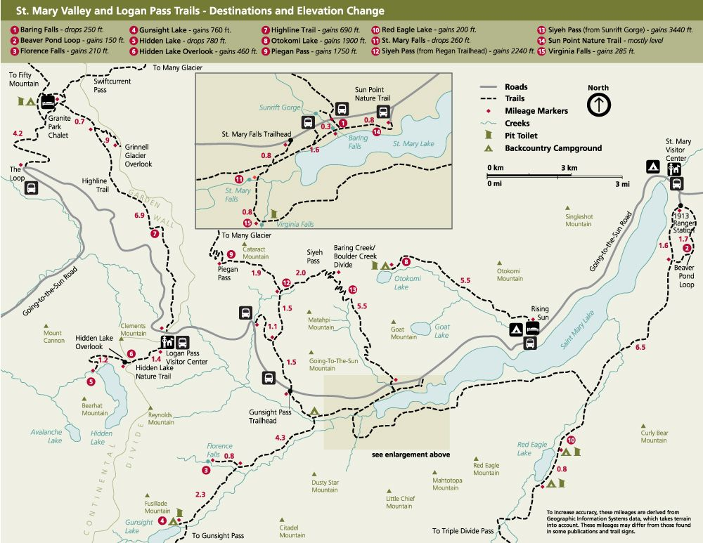 St. Mary Valley & Logan Pass Day Hike Trail Infographic Map ...