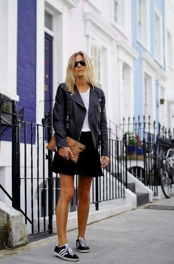 Black skirt, leather jacket and sneakers
