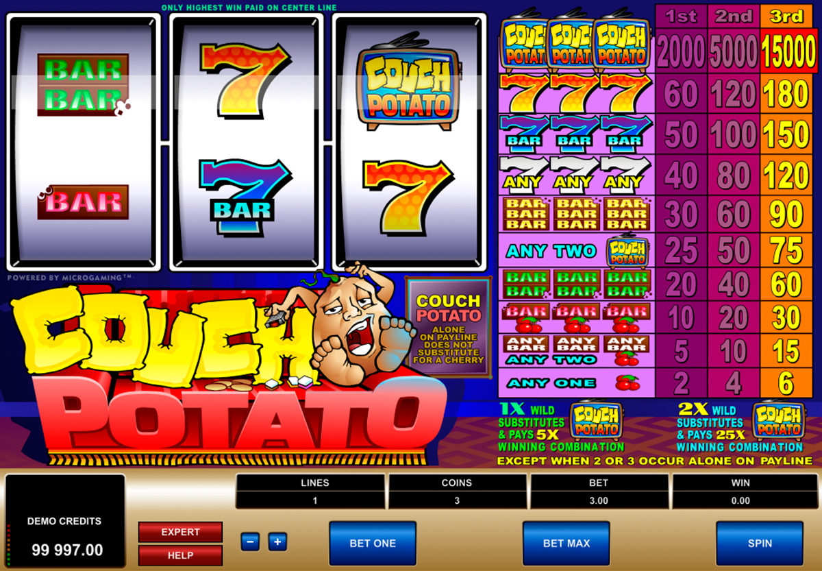 Play Couch Potato slot game by Microgaming at Vegas