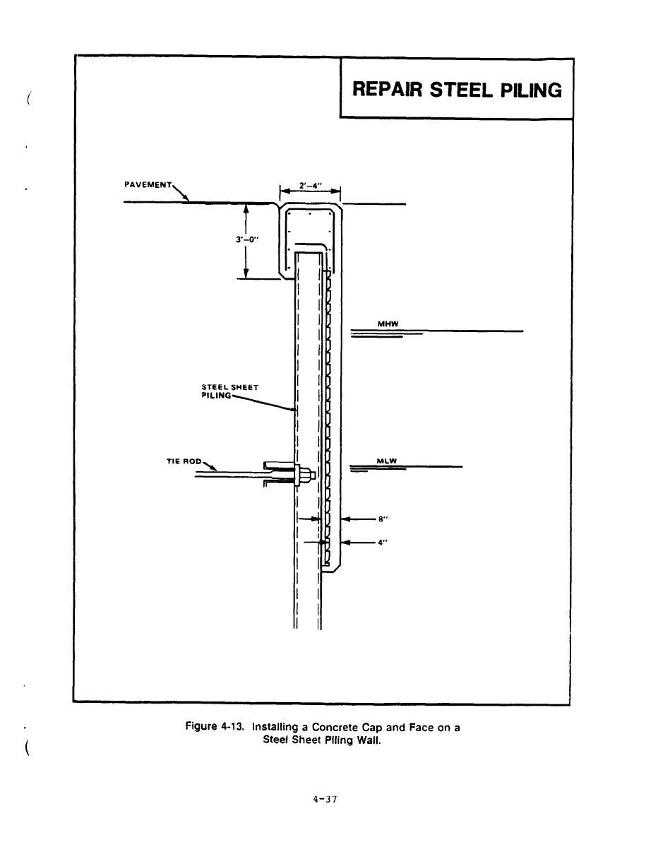 Figure 4-13. Installing A Concrete Cap and Face on a Steel ...