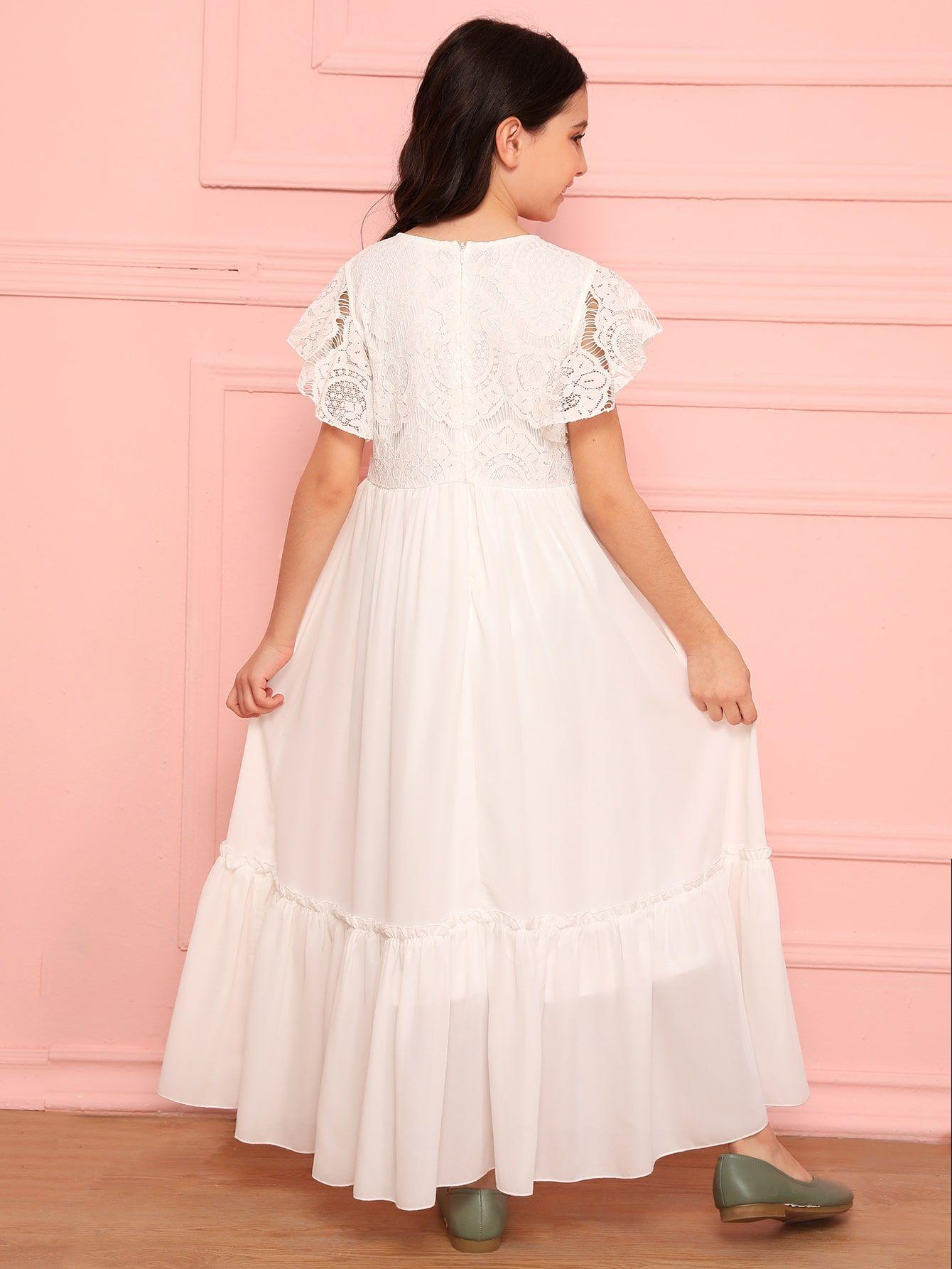 Girls Butterfly Sleeve Lace Bodice Dress Sponsored , Ad