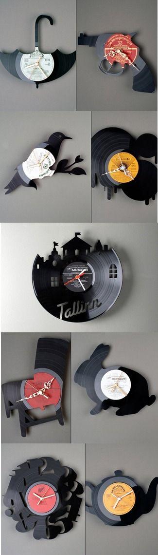 crafty finds for your inspiration basteln pinterest schallplatte wanduhren und uhren. Black Bedroom Furniture Sets. Home Design Ideas