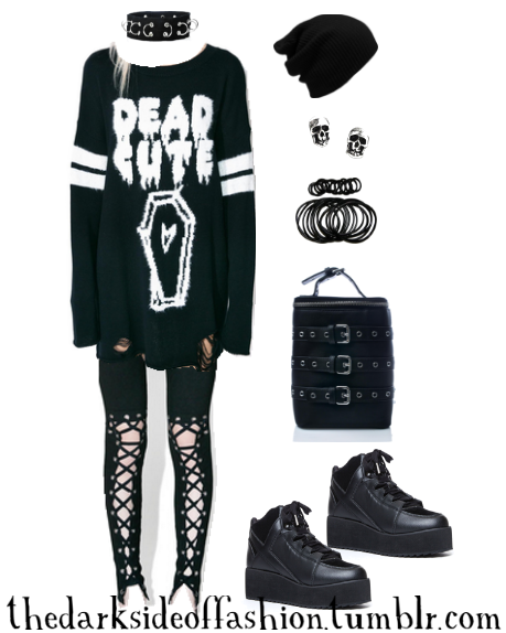 Dark Fashion — Dead Cute Buy Here >>> Choker $12 / Sweater $36 /... #gothclothes