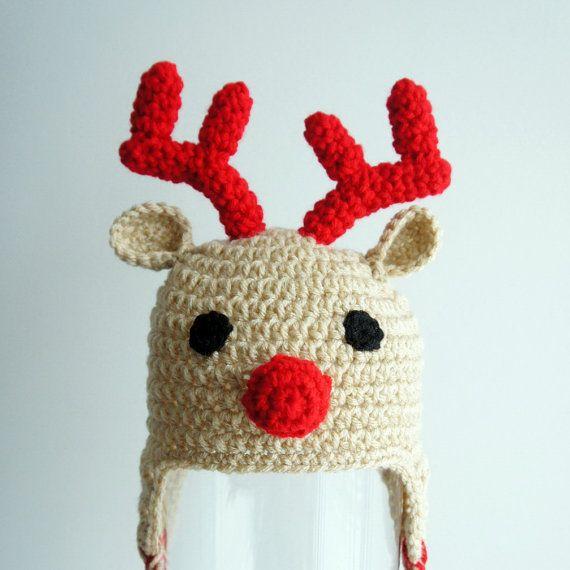 Reindeer Hat, Christmas Hat, Rudolph Red Nosed Reindeer Hat, Crochet ...