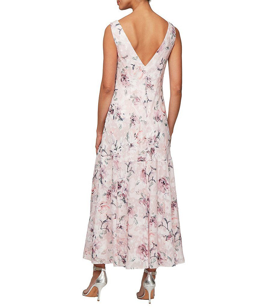 3752eba07438 Alex Evenings Burnout Floral Print Sleeveless Shift Midi Dress #Burnout, # Floral, #Alex
