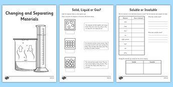 Separating Materials Worksheets Booklet Separating Materials