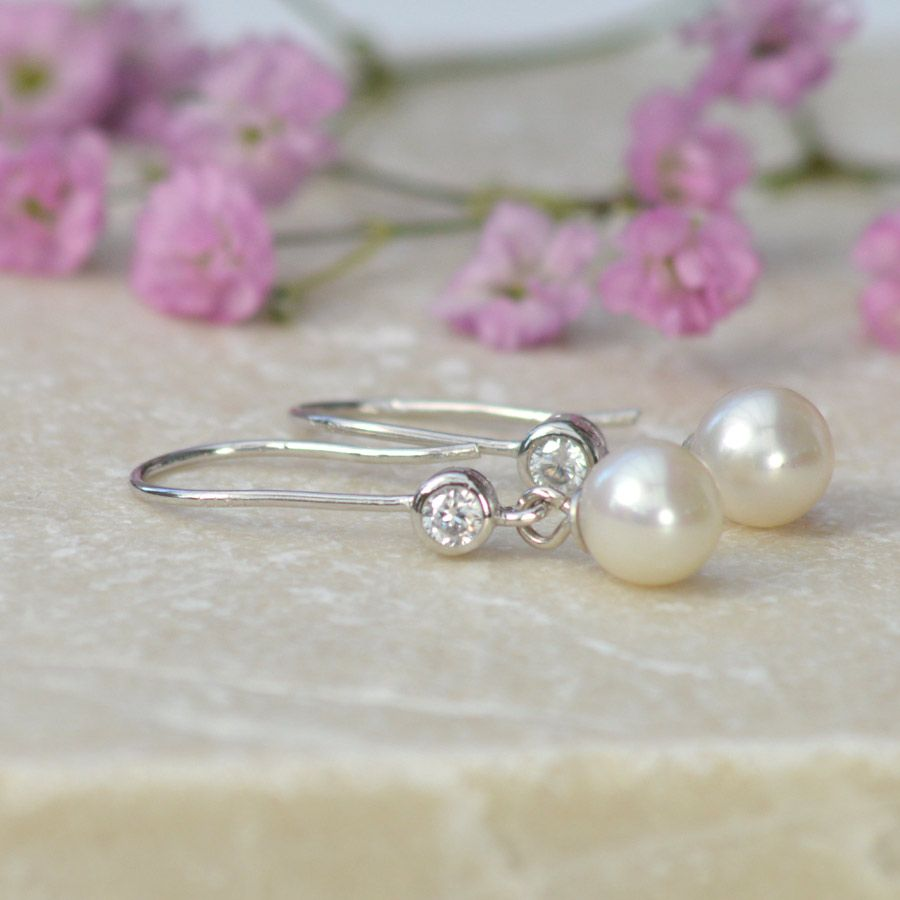 Delicate Pearl And Cubic Zirconia Drop Earrings