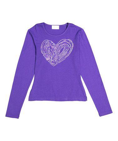 Another great find on #zulily! Purple Swirl Heart Long-Sleeve Tee - Girls #zulilyfinds