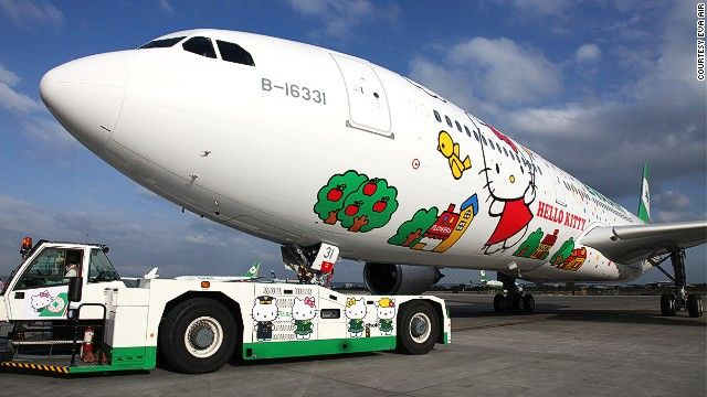 The planes serving the U.S. routes are not yet photo-ready, according to EVA Air, but we can expect them to look something like those already operating in Asia. This is EVA Air's Magic Stars Hello Kitty jet, which flies from Taipei to various Asian hubs including Hong Kong and Japan.