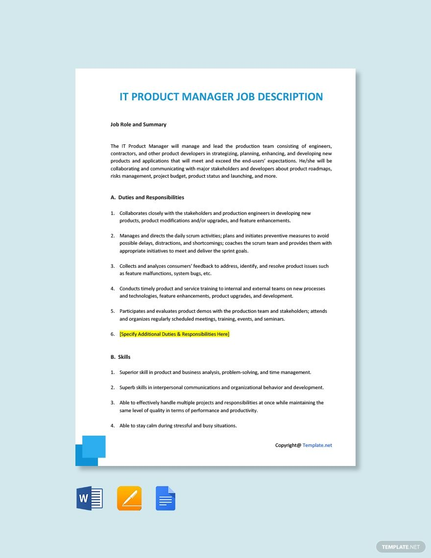 Free it product manager job description template in 2020
