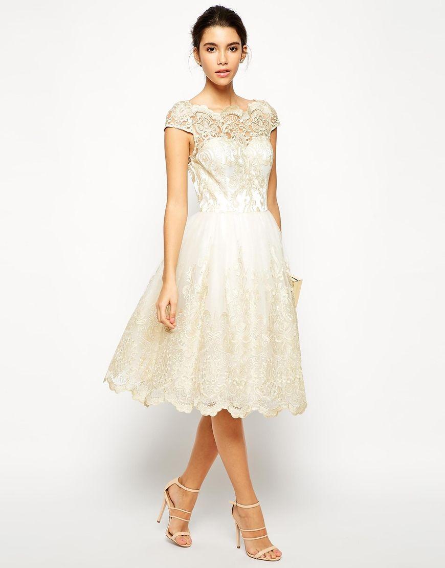 a61185070f Chi Chi London Frances sukienka wieczorowa midi rozkloszowana haftowana  LUXYOU