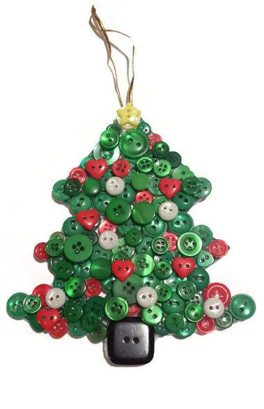 """ON SALE - 5"""" Red, White and Green Christmas Tree Ornament, One of a Kind - Handmade Button Tree Ornament with Red Hearts and a Yellow Star"""
