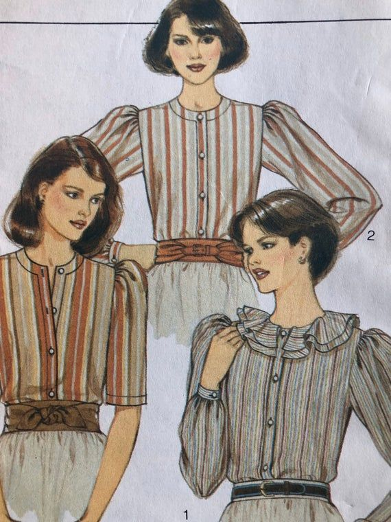 Vintage Style dress blouse sewing pattern 4071 circa 1980