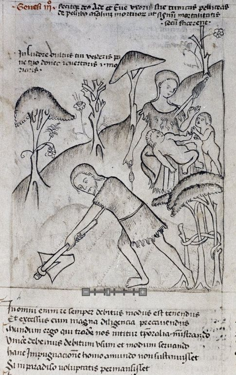 Eve spinning with a distaff and spindle.