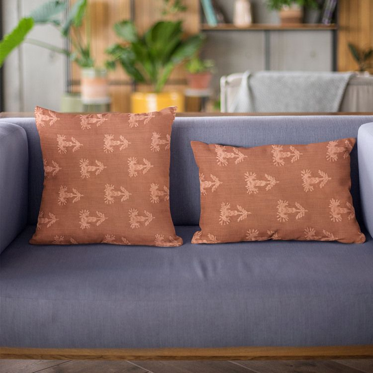 "Plutus Red Growth Motif Luxury Throw Pillow Size 20"" x 20"" - Plutus Brands - PBRA2439-2020-DP"