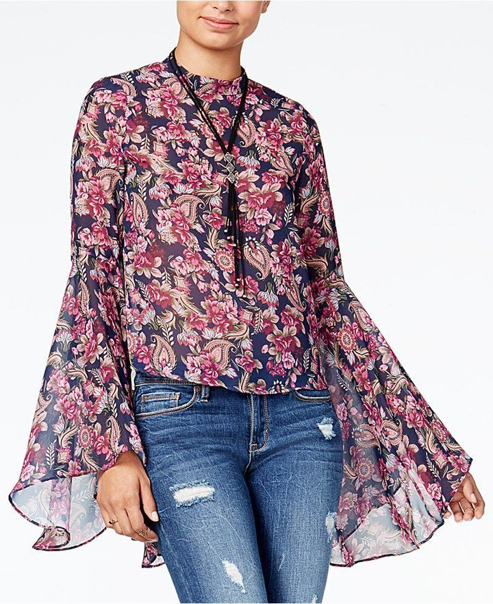 American Rag Juniors Printed Bell Sleeve Top Created For Macy S