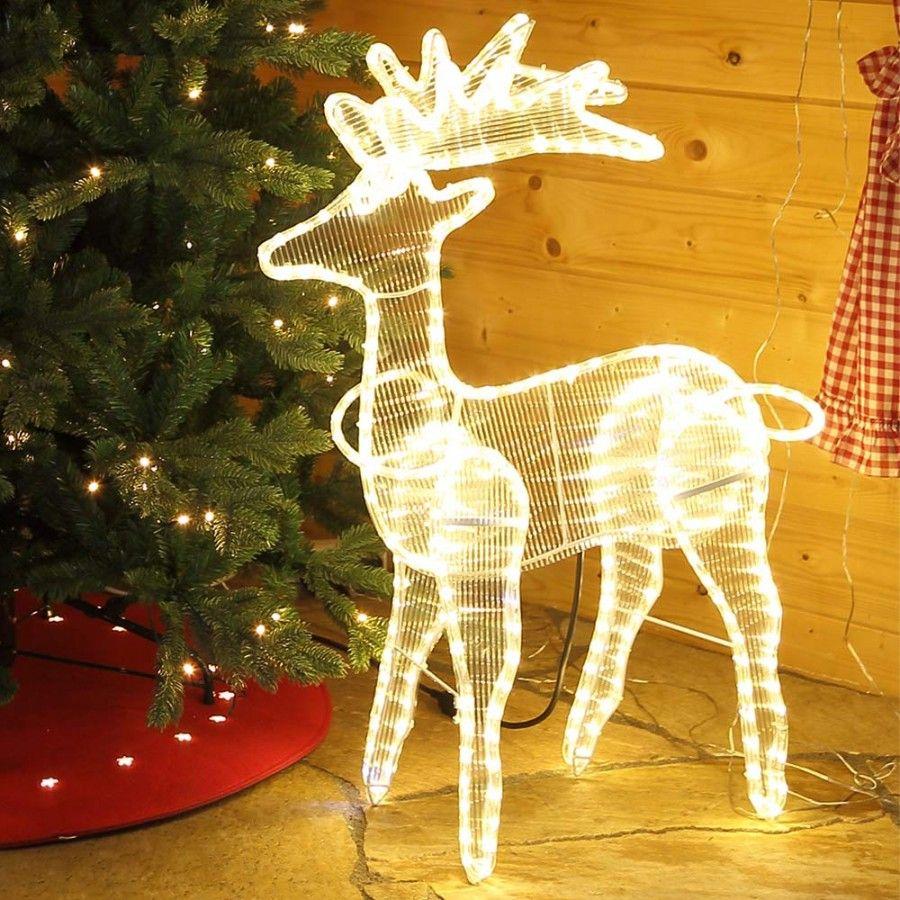 Weihnachtsfigur Rentier Beleuchtet In Warmweiss Fur Innen Und Aussen