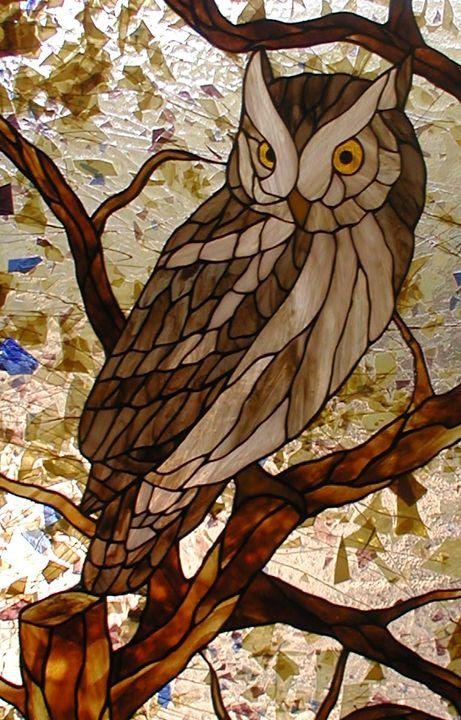 Stained Glass Owl Entry With Art Deco Border And Sidelites Farbe Fur Glas Fensterglas Glasmalerei Kunst