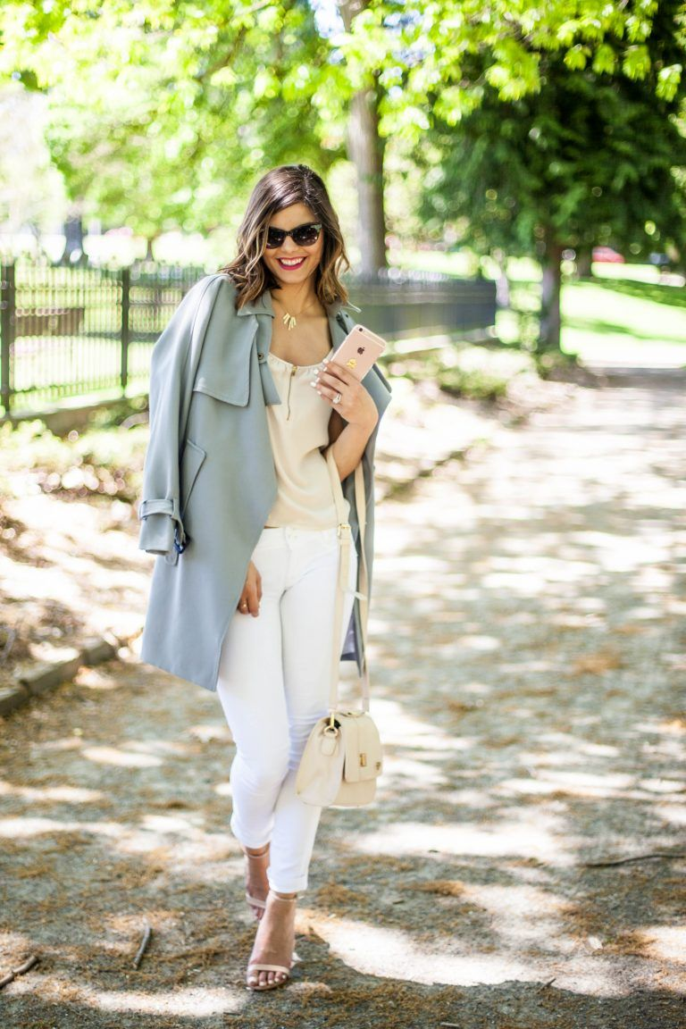 Style Miss Molly | Serenity Blue Trench Coat | Spring Fashion | White Jeans | Success