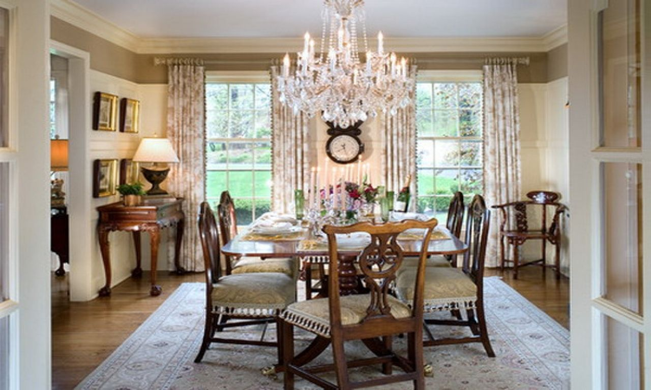 Dining Room Crystal Chandelier Dining Room Wainscoting Traditional Dining Rooms Dining Room Design