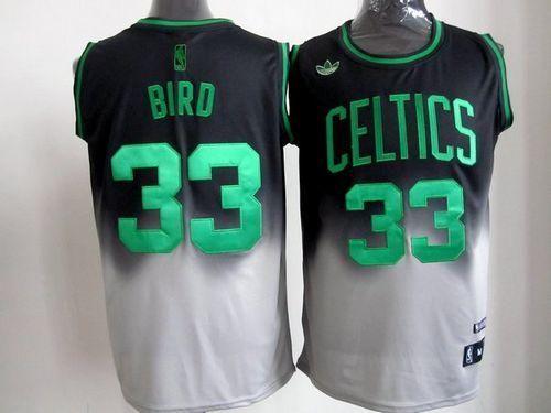 premium selection 0cf8b e6f60 Celtics #33 Larry Bird Black/Grey Fadeaway Fashion Stitched ...