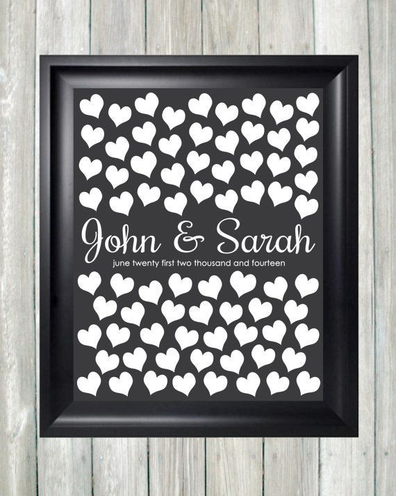 Wedding Guest Book Alternative Guestbook Art Print Unique Poster 75 Guests Sign In Hearts Bridal Shower Gift