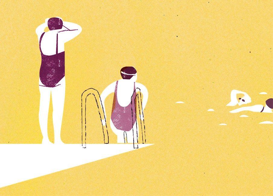 Een blogbericht van illustraties over zwemmen en zwembaden - Illustrations about swimming. Illustrators o.a. Lisa Congdon, Naomi Wilkinson, mathilde aubier.