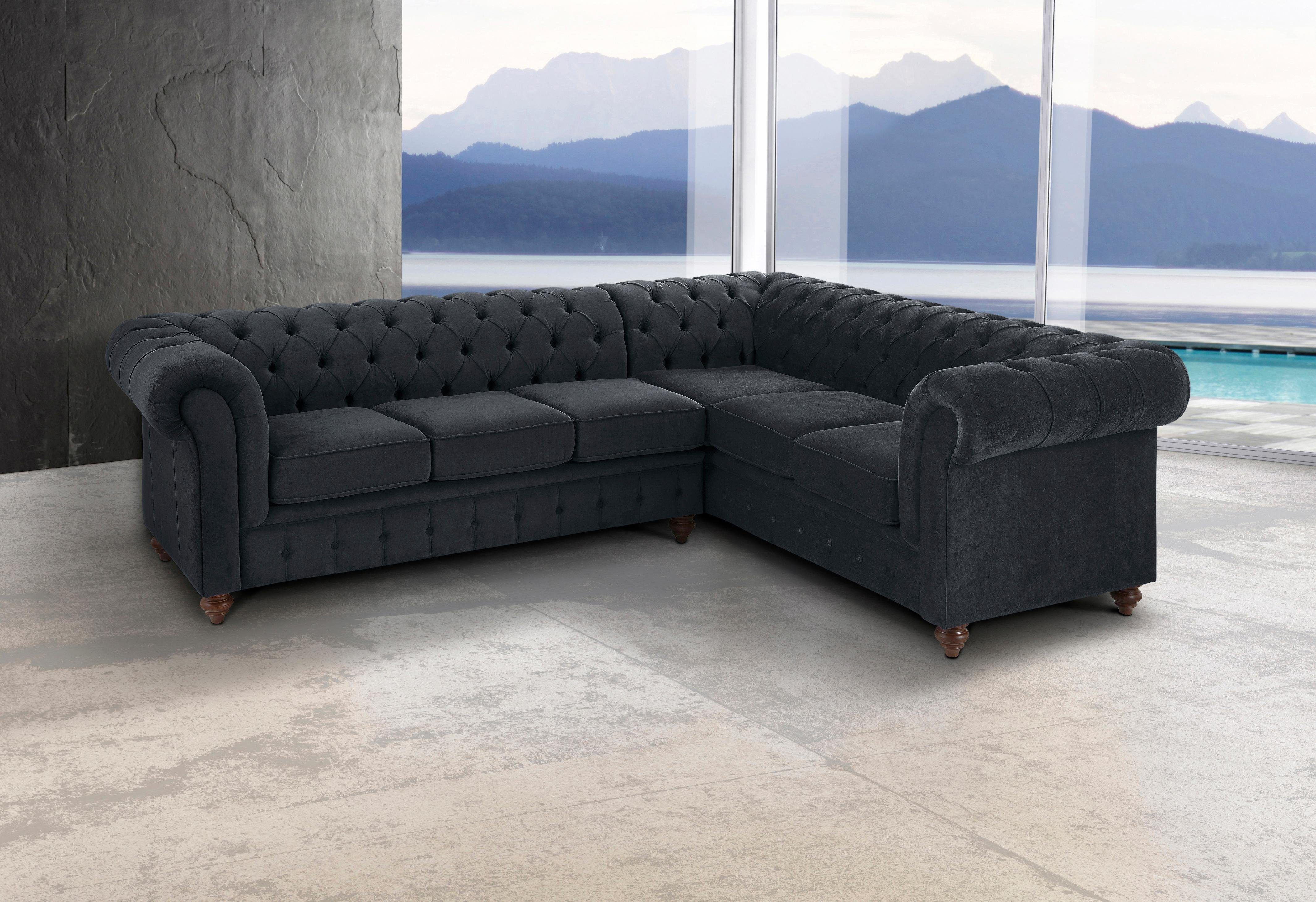Home affaire Ecksofa Chesterfield grau Langer Schenkel links FSC