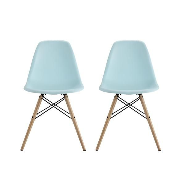 Elegant DHP Mid Century Modern Molded Blue Chair With Wood Leg (Set Of 2)