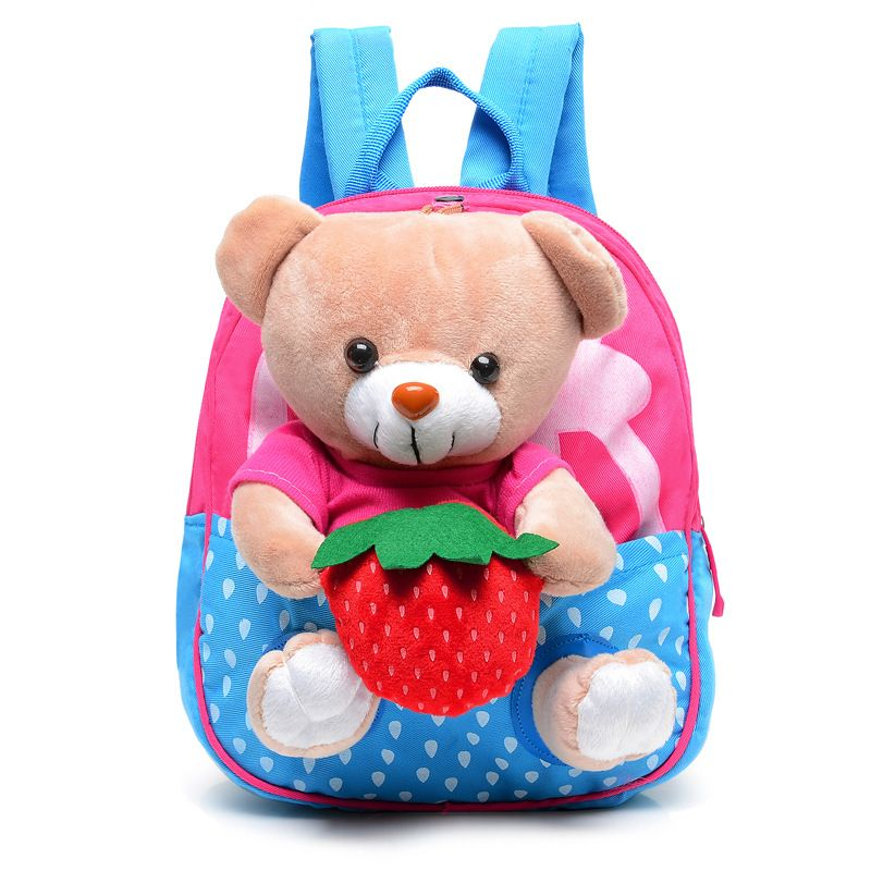 New Kids School Bags Cartoon Bear Dolls Canvas Backpack Baby Girls Boys  Book Bag Toddler Kindergarten 75dc5de5b81f1