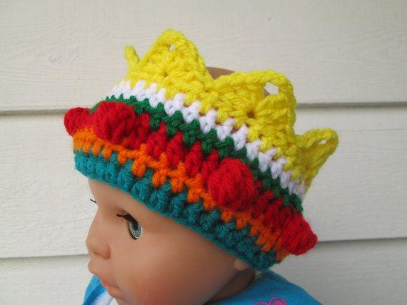 Newborn crochet crown Crocheted Rainbow Headband by Ritaknitsall, $15.00 #crownscrocheted